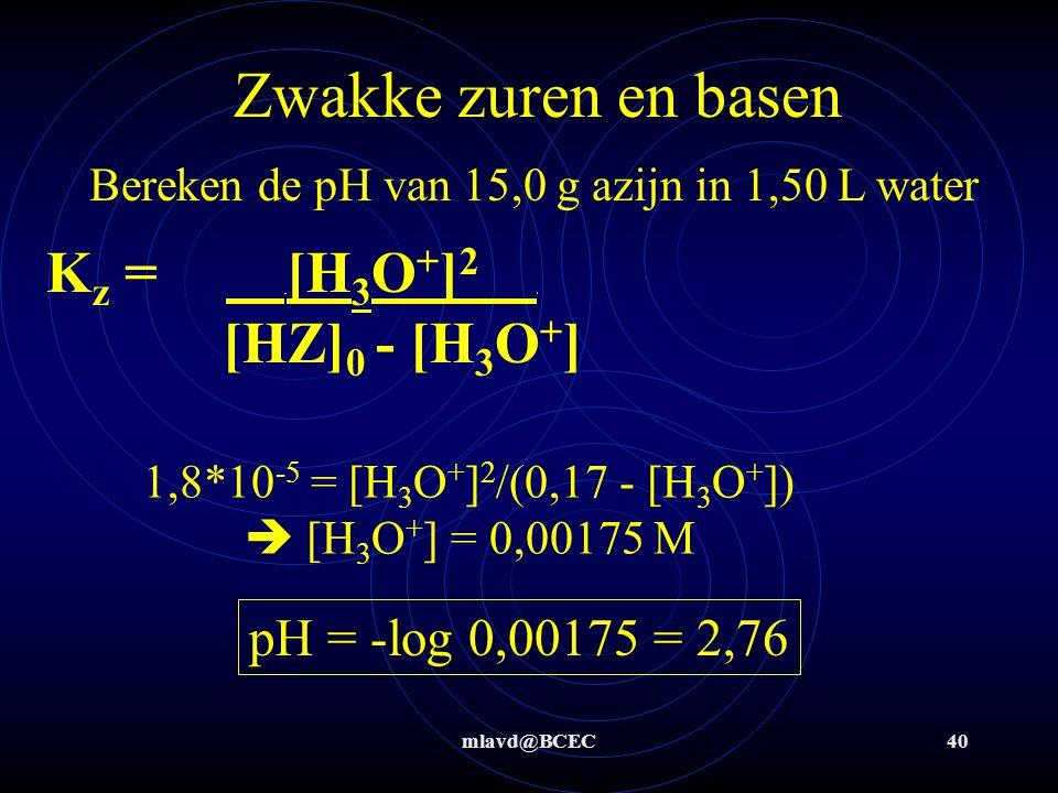 Zwakke zuren en basen Kz = [H3O+]2 . [HZ]0 - [H3O+]